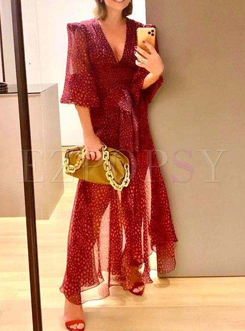 Lantern Sleeve Floral Maxi Dress