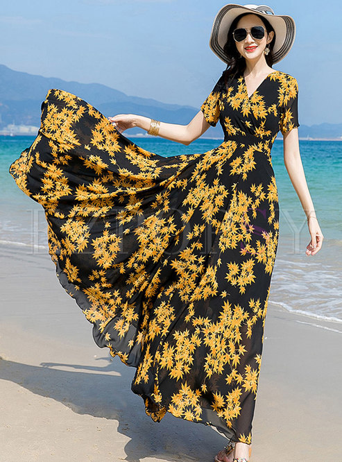 V-neck Floral Draped Beach Dress