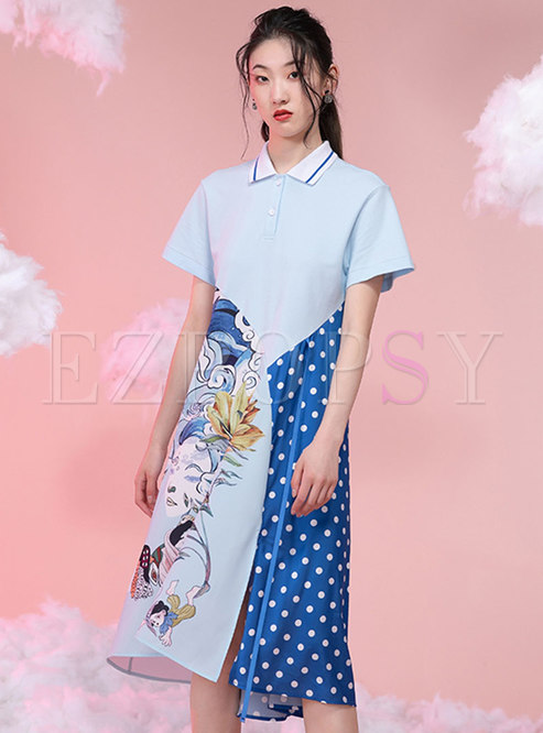 Casual Print Patchwork Polo T-shirt Dress