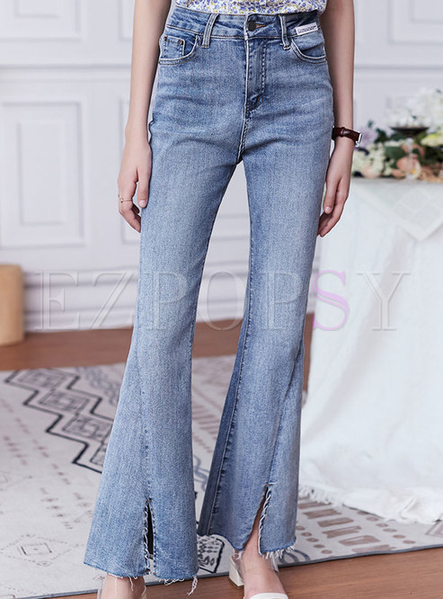 Sexy Light Blue Split Flare Jeans