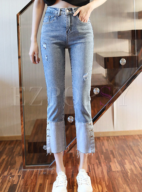 Color Blocked Ripped Flare Jeans