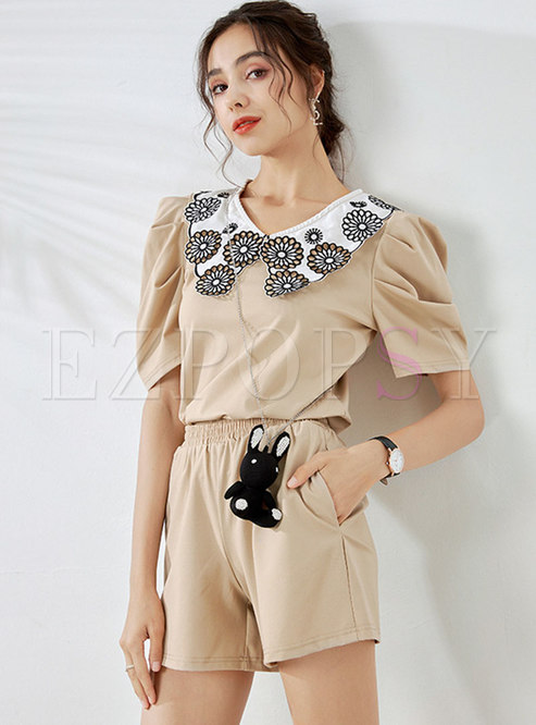 Puff Sleeve Embroidered High Waisted Shorts Suits