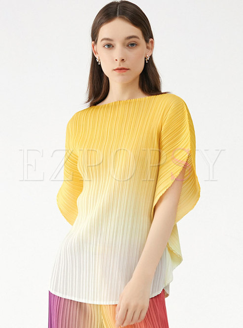 Gradient Crew Neck Batwing Sleeve Pleated T-shirt