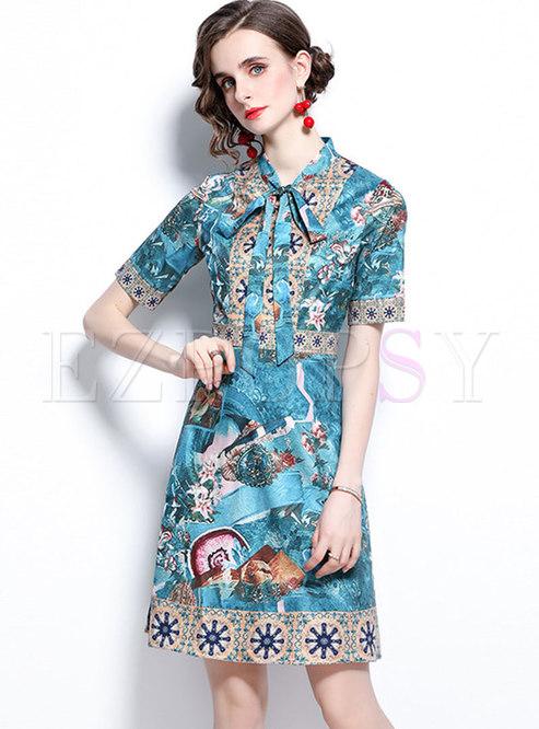 Retro Bowknot Short Sleeve Floral Skater Dress