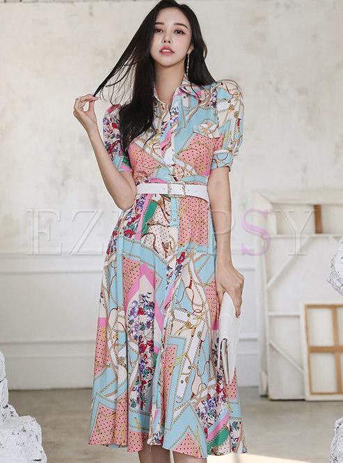 Multi Half Sleeve Belted Single-breasted Shirt Dress