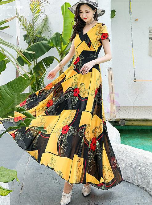 Boho Color-blocked High Waisted Big Hem Maxi Dress