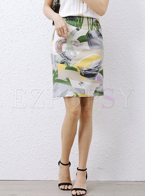 High Waisted Print Sheath Split Mini Skirt