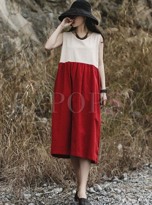 Color-blocked Sleeveless Patchwork Linen Shift Dress