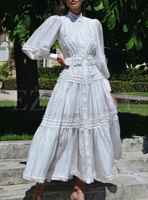 Mock Neck Puff Sleeve Ruffle Belted Maxi Dress