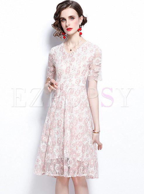 Sweet V-neck Print Openwork A Line Lace Dress