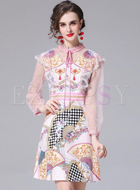 Mesh Patchwork Long Sleeve Print Skater Dress