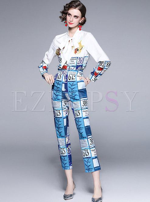 Long Sleeve Print Shirt & Chic Straight Pants