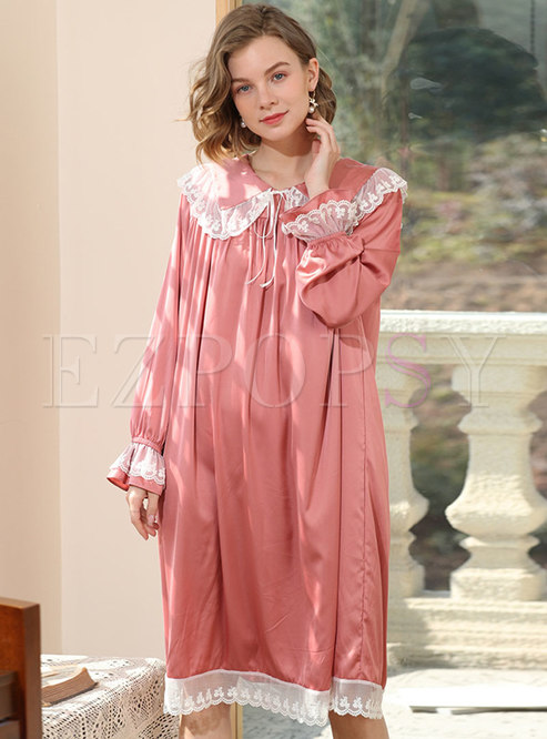 Cute Turn-down Collar Lace Patchwork Robe
