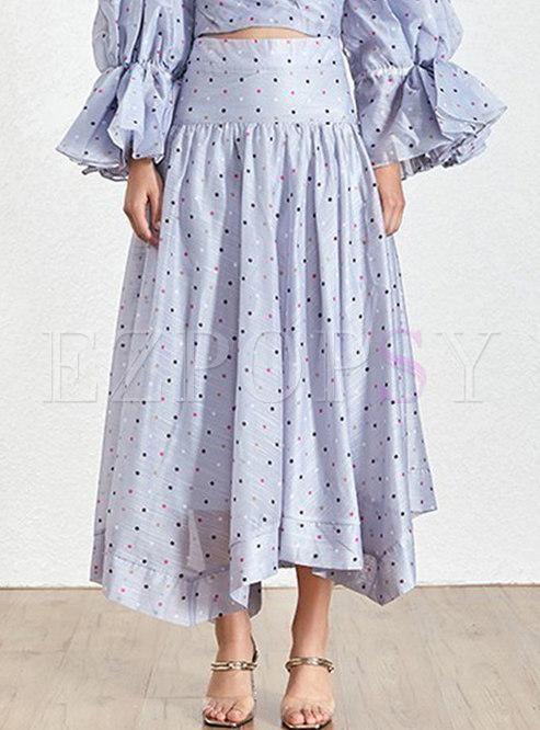 Elegant Dot High Waisted Irregular Skirt