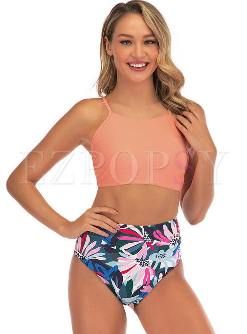 Scoop Neck Backless Strappy Print Tankini