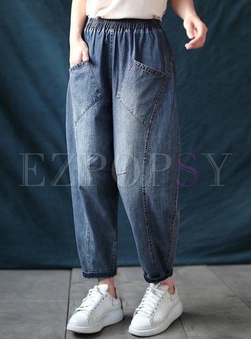 Elasticated Waist Big Pocket Harem Jeans