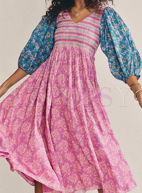 Boho V-neck Long Sleeve Print A Line Midi Dress