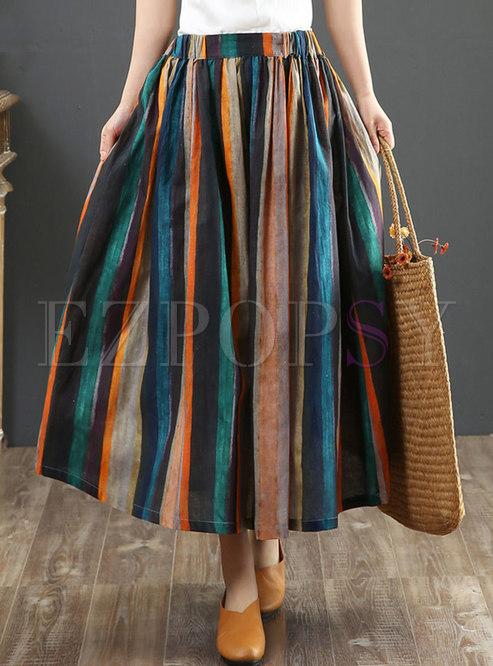 Retro High Waisted Stripe A Line Maxi Skirt