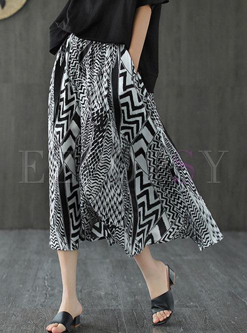 Bicolor Geometric Print A Line Skirt