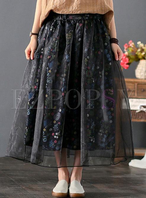Floral Linen Organza Ball Gown Skirt
