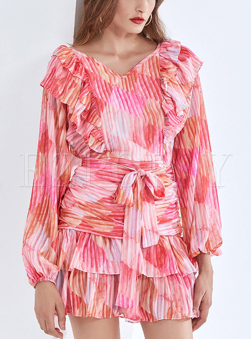 V-neck Print Long Sleeve Smocked Mini Dress
