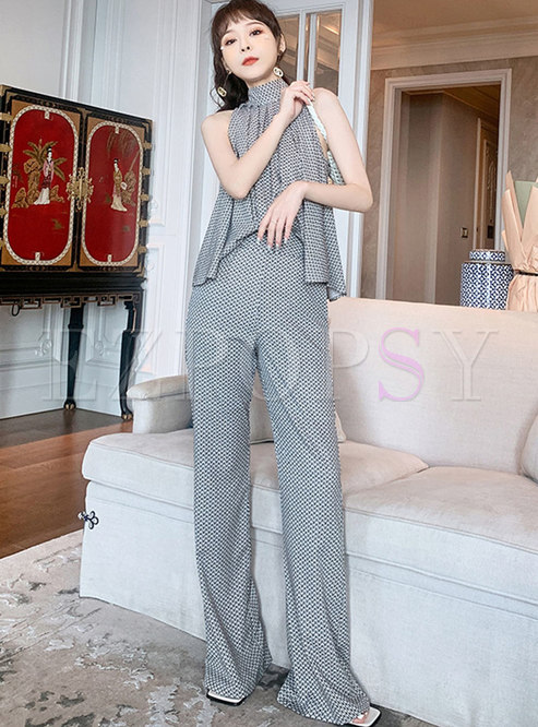 Mock Neck Sleeveless Chain Print Flare Pant Suits
