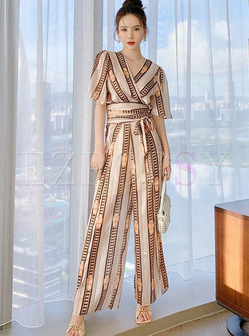 V-neck Print Striped Split Wide Leg Pant Suits