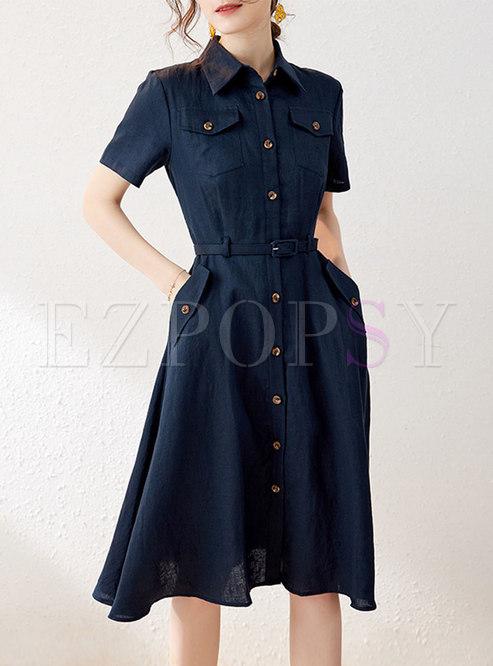 Casual Turn-down Collar A Line Linen Shirt Dress