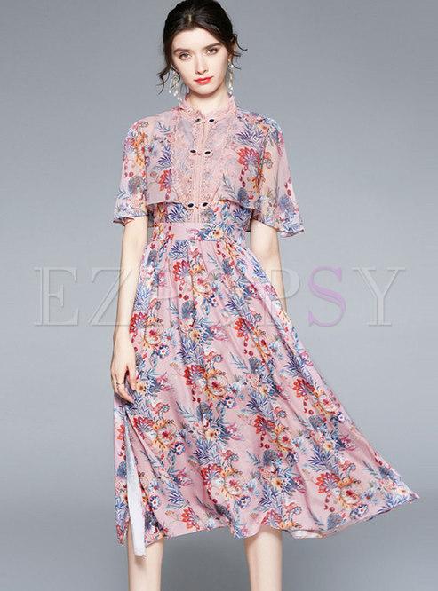 Mock Neck Print Cloak Sleeve Maxi Dress