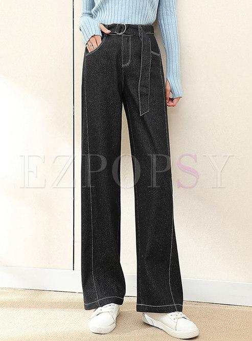 Black High Waisted Wide Leg Jeans