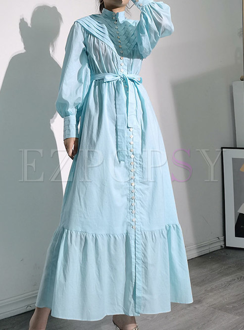 Lantern Sleeve High Waisted Big Hem Maxi Dress