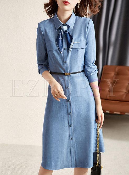 Turn-down Collar Long Sleeve A Line Shirt Dress