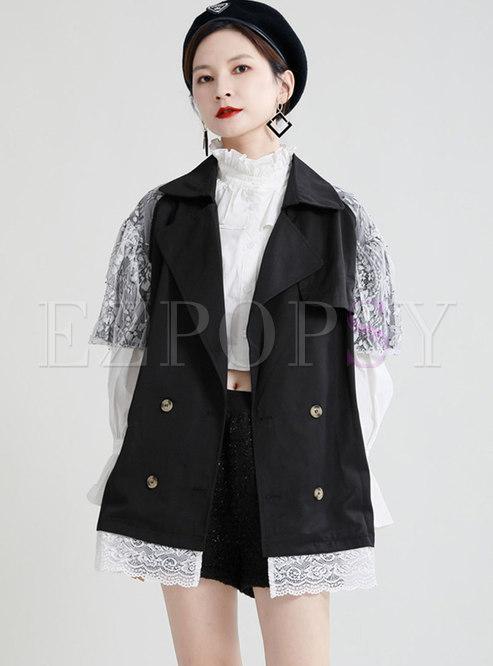 Lapel Mesh Puff Sleeve Straight Trench Coat