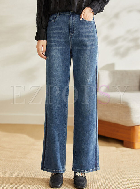 Casual Blue High Waisted Wide Leg Jeans