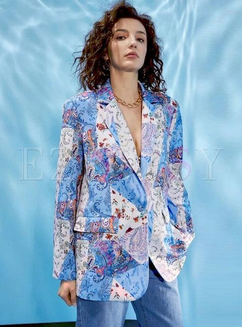 Notched Collar Printed Long Sleeve Blazer