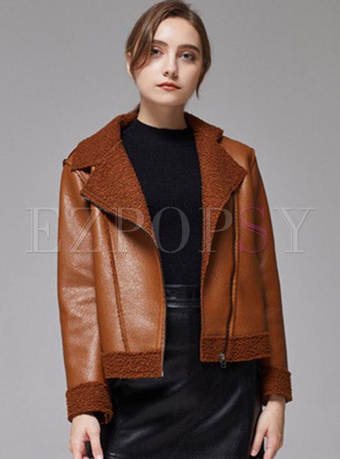 Lapel Short Straight Faux Fur Patchwork PU Jacket