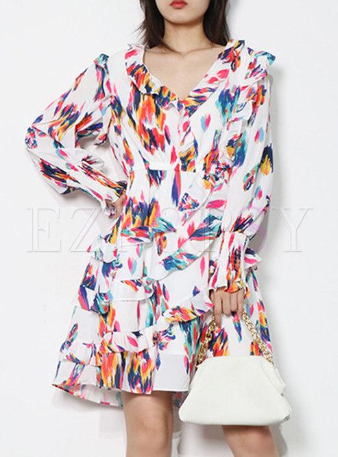 V-neck Long Sleeve Ruffle Print A Line Dress