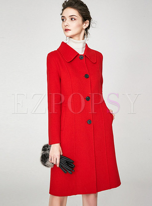 Turn-down Collar Straight Double-cashmere Overcoat