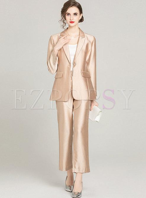 Flap Pockets Work Blazer & Flare Pant Suits