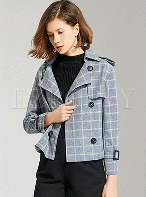 Plaid Double-breasted Short Trench Coat