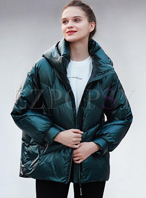 Mock Neck Hooded Lightweight Short Down Coat