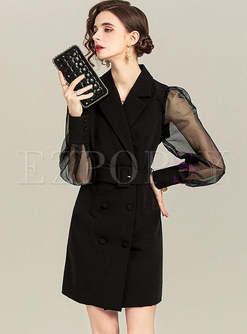 Mesh Sheer Long Sleeve Belted Short Blazer Dress