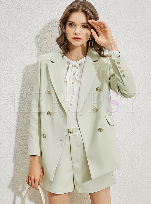 Work Long Sleeve Double-breasted Blazer & High Waisted Shorts