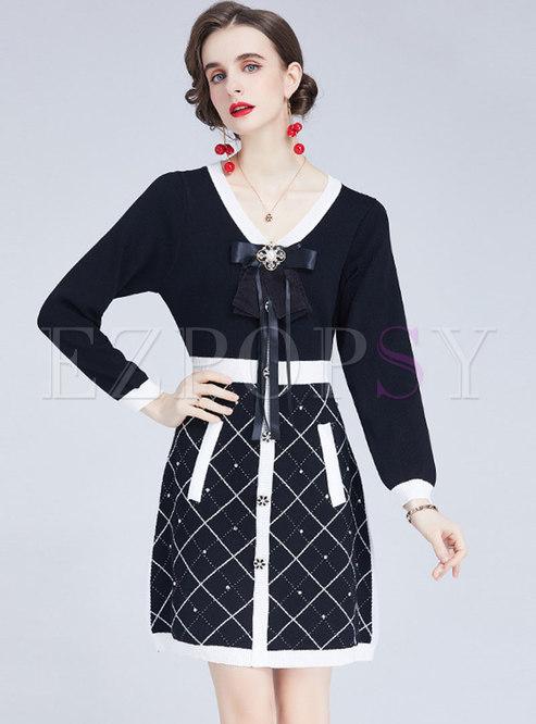 Long Sleeve Bowknot Plaid Short Sweater Dress