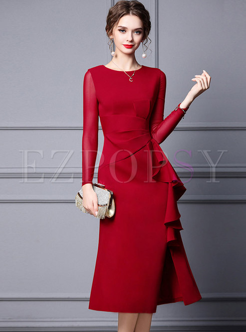 Long Sleeve Ruffle Midi Cocktail Party Dress