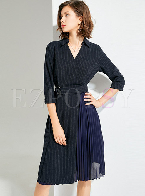 Striped Belted Pleated Knee-length Work Dress