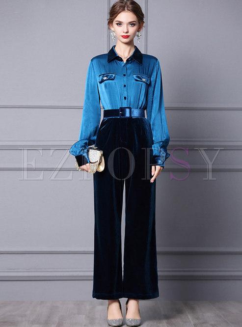 Long Sleeve Velvet Belted Wide Leg Jumpsuits