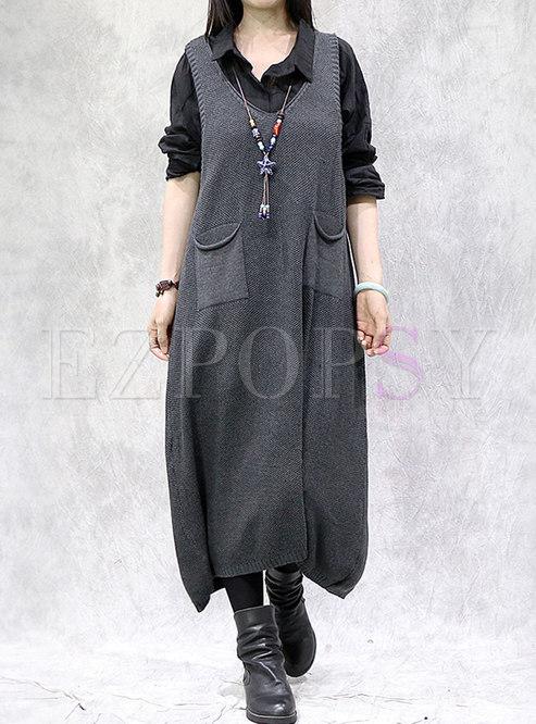 V-neck Sleeveless Plus Size Midi Sweater Dress