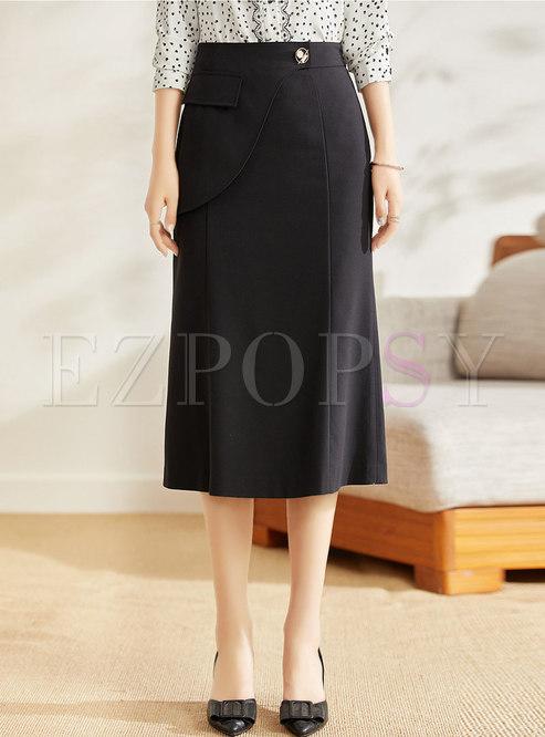 Black High Waisted Work Midi Skirt