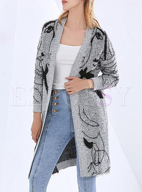 V-neck Long Sleeve Printed Cardigan Coat